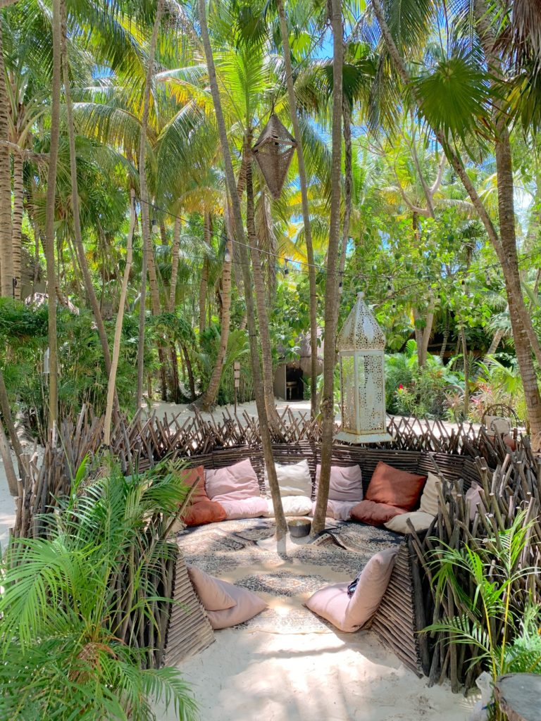 Nomade's outdoor nest lounge in Tulum