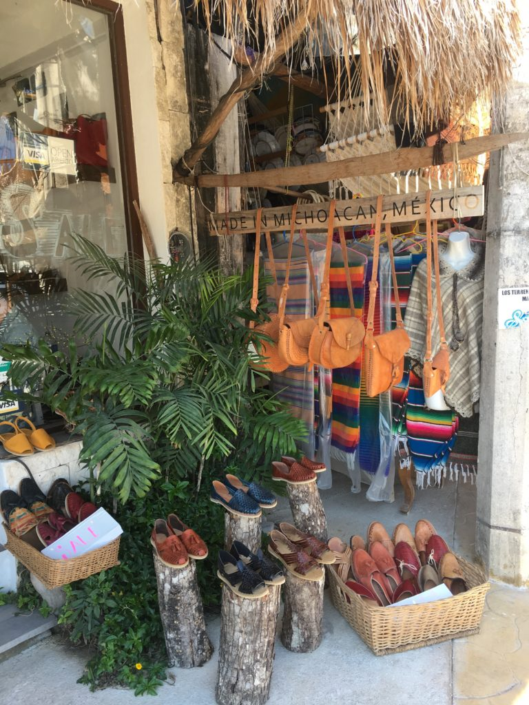 Tulum Ave shopping, leather handmade goods in Tulum