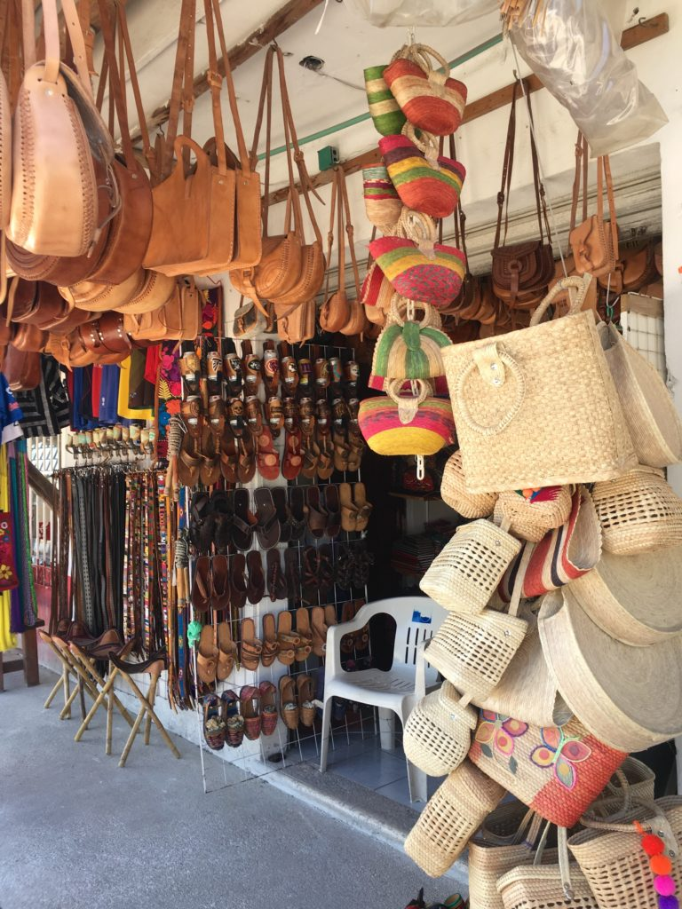 shopping on Tulum Ave, handmade leather bags