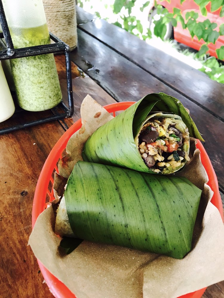 banana-leaf wrapped burritos in Tulum